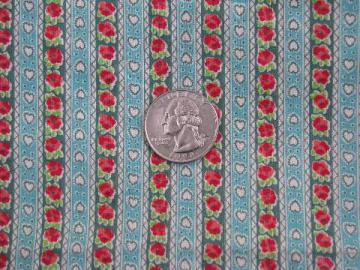 hearts & flowers vintage tiny print flowered stripe cotton quilting fabric