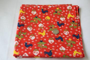 hearts & roosters print fabric 1950s vintage quilting weight cotton primary colors