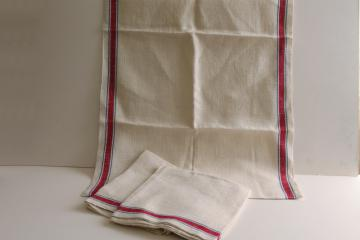 heavy French linen towel fabric, vintage red & blue striped kitchen / dish towels