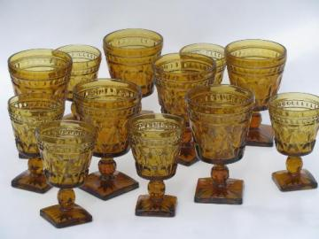 heavy amber glass goblets, vintage Colony Park Lane wine and water glasses