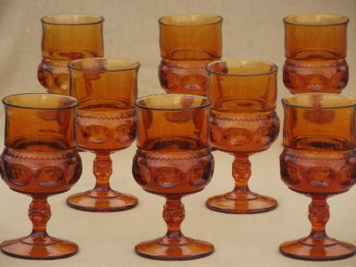 Heavy Amber Glass Wine Glasses 8 Vintage King S Crown