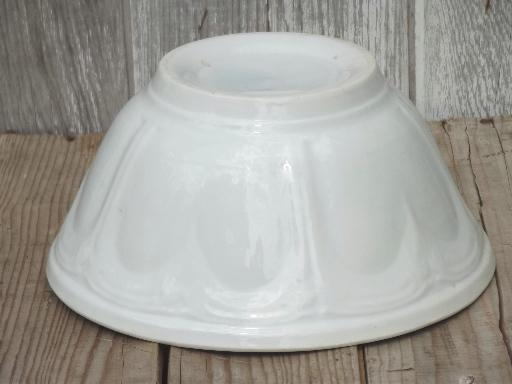 heavy antique white ironstone china mixing bowl, unmarked vintage ironstone