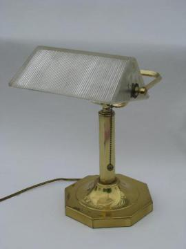 heavy brass banker's light desk lamp, ribbed prismatic glass shade
