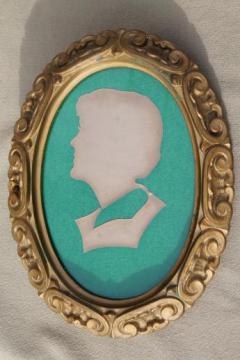 heavy carved vintage gold Burwood oval frame w/ cut paper silhouette picture