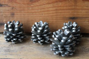 heavy cast metal pinecones, pine cone candle holders silver tone pewter look aluminum