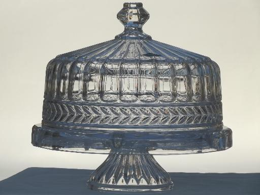 & heavy crystal cake stand Shannon label glass plate w/ dome cover