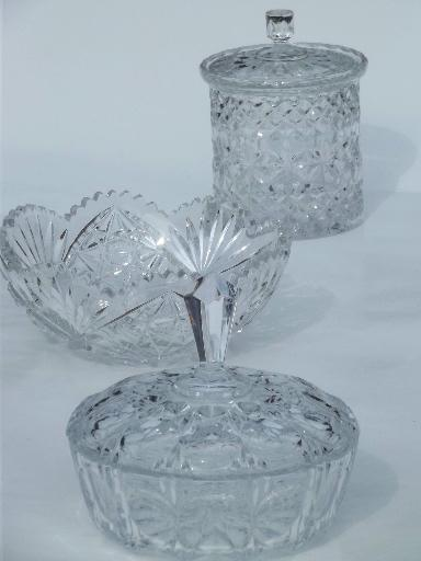 Top heavy crystal candy dish, canister jar & bowl, vintage glassware lot MS13