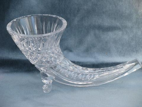 heavy glass crystal horn of plenty cornucopia vase