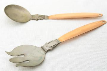 heavy gothic hand wrought copper / silver salad servers, rustic farmhouse vintage