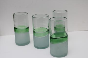 heavy hand blown glass tumblers, vintage drinking glasses frosted clear w/ sea green