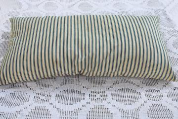heavy old chicken feather pillow, vintage indigo blue striped cotton ticking fabric cover