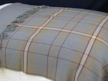 heavy old double-sided wool blanket, vintage fringed camp plaid throw