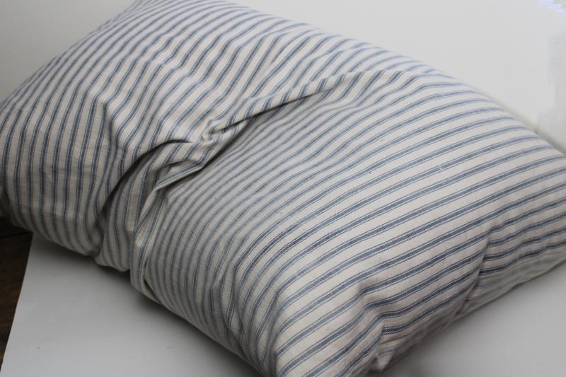 heavy old feather pillow, vintage indigo blue striped cotton ticking fabric