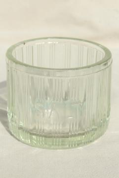 heavy old glass Salt pig, large ribbed glass hoosier jar embossed lettering