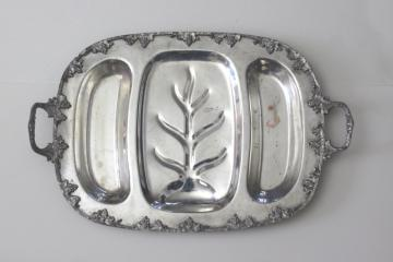 heavy old ornate silver plate meat platter, handled serving tray for roasts or game