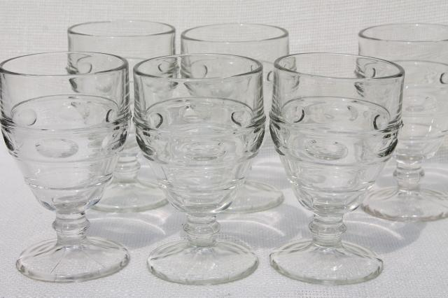 heavy old pressed glass water goblets vintage wine glasses thumbprint band