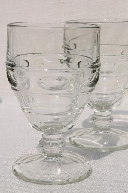 Heavy Old Pressed Glass Water Goblets Vintage Wine