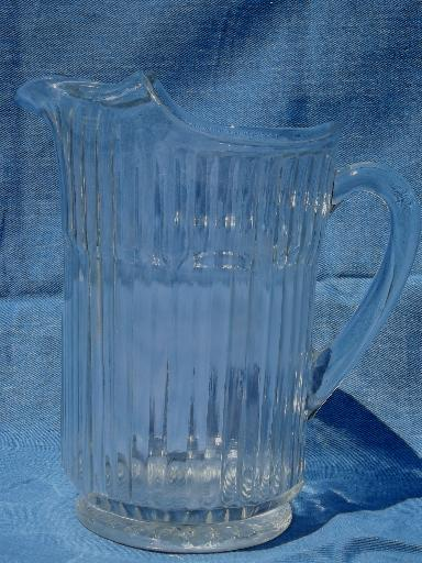 Heavy Old Ribbed Clear Glass Pitcher Vintage 2 Qt Draft