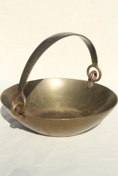 heavy old solid brass basket or scale pan w/ handle, rustic industrial primitive