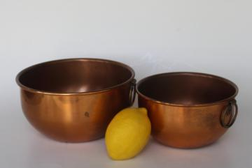 heavy old solid copper mixing bowls, nesting bowl set w/ brass rings for wall hanging