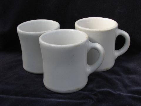 heavy old white ironstone china coffee cups mugs 1920s vintage