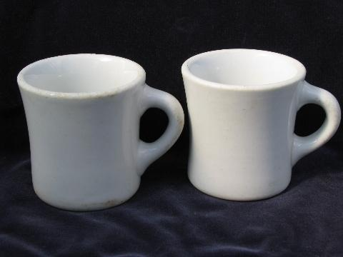 Heavy Old White Ironstone China Coffee Cups Mugs 1920s