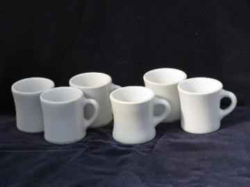 heavy old white ironstone china coffee cups mugs, 1920s vintage