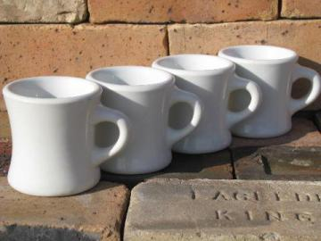 heavy old white ironstone china coffee cups mugs, 1920s-30s vintage