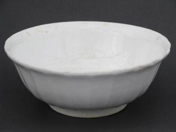 heavy old white ironstone china kitchen mixing bowl