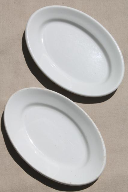 Heavy Old White Ironstone China Vintage Butter Plates Or