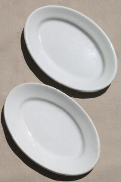 heavy old white ironstone china, vintage butter plates or small platters