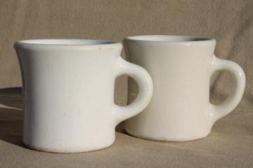 heavy old white ironstone mugs, vintage railroad china or restaurant ware coffee cups