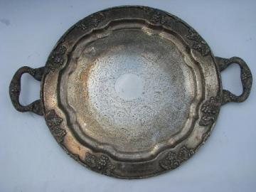heavy ornate old silver plate tray w/ handles, harvest grapes border