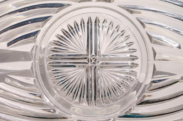 heavy pressed pattern glass cake plate or torte plate, 303 line vintage Indiana glass