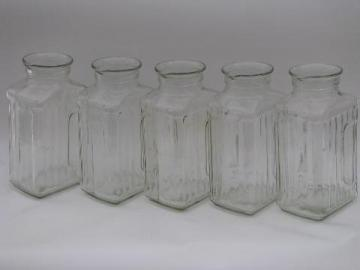 heavy ribbed glass canister jars, pitcher pour spout kitchen canister set