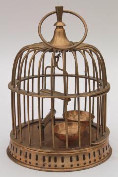 heavy solid brass bird cage, vintage decorative birdcage hanging pot planter holder