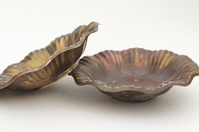 heavy solid brass bowls, vintage dishes w/ worn patina, antique silver wash