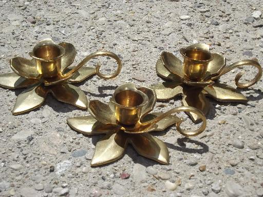 heavy solid brass candlesticks, lot of flower shaped candle holders