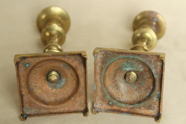 heavy solid brass candlesticks, pair of vintage candle holders for candle tapers