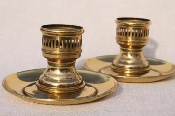 heavy solid brass candlesticks, vintage candle holders for glass hurricane shades