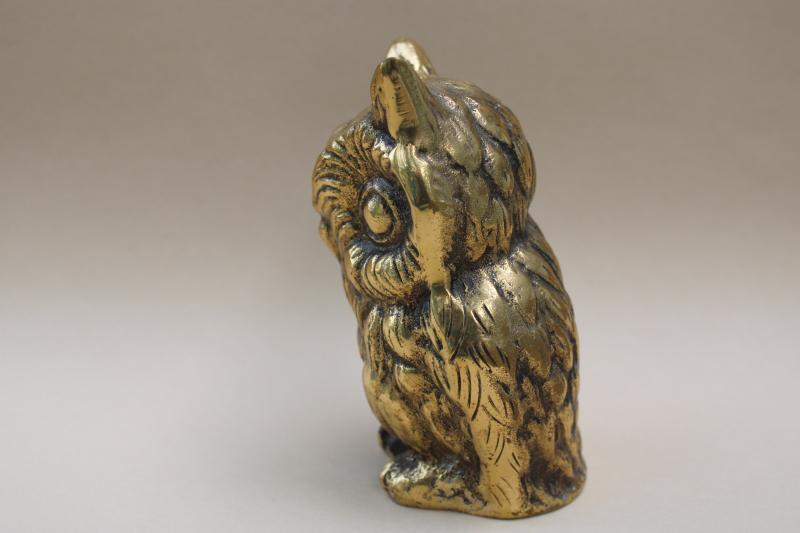 heavy solid brass owl paperweight, vintage Japan figurine wise old owl