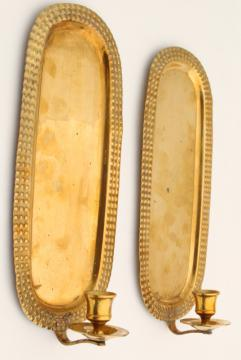 heavy solid brass vintage wall sconces, candle sconce matching pair