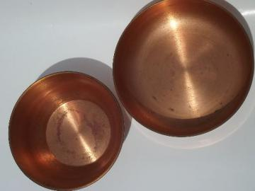 heavy solid copper bowls, 60s or 70s vintage pots for kitchen or garden