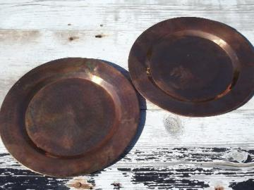 heavy solid copper charger plates or trays, hand hammered and burnished