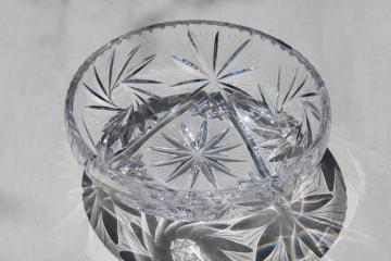 heavy sparkling crystal fruit bowl, vintage star & pinwheel pattern glass bowl