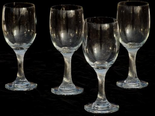 Heavy Twist Stem Water Glasses Hand Blown Glass Goblets W