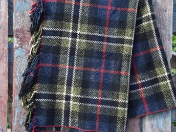 heavy vintage plaid wool camp or picnic blanket w/ fringe, indigo blue