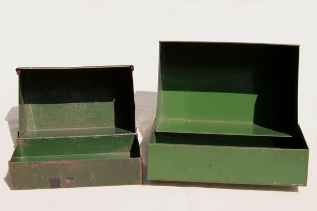 Office file boxes Stationery Box Heavy Vintage Steel Card File Boxes W Worn Green Paint Industrial Machine Age Office Storage Laurel Leaf Farm Heavy Vintage Steel Card File Boxes W Worn Green Paint Industrial