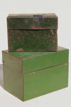 heavy vintage steel card file boxes w/ worn green paint, industrial machine age office storage