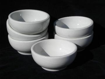 heavy white ironstone china footed bowls, vintage restaurant soup or chili bowl lot